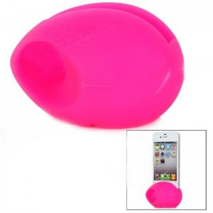Cute Egg Style Silicone Speaker Stand for iPhone 4 / 4S - Deep Pink