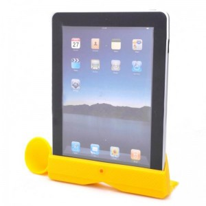 Silicone Horn Stand Amplifier Speaker for iPad 2 - Yellow