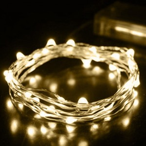 Urparcel 2M 20 LEDs Battery Operated Mini LED Copper Wire String Fairy Lights(Warm White)