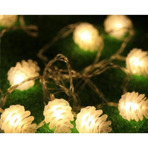 Urparcel Waterproof 5M 20LED Fairy String Light Pine Cone Christmas Home Outdoor Decor(Warm White)
