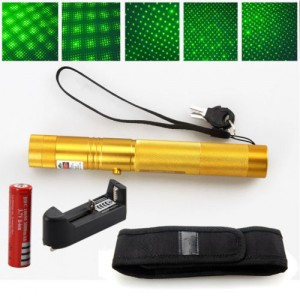 EastVita 2 IN 1 532nm Green Laser Pointer High Power 5mw Rechargeable 18650 Holster Gold