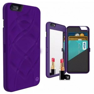 Luxury Flip Card Wallet PU Leather Mirror Phone Case Cover For iPhone 6 Plus or 6 Plus Purple