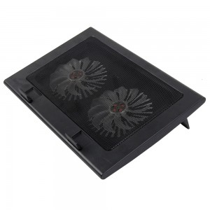 A8 Laptop Cooler Cooling Pad – Ultra Slim Portable USB Powered (2 Fans), Apply to 15,16,17 inches laptop; Color: Black