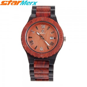 EastVita MERRY TIME Large Watch Diameter Natural Ebony Watches with three hands, Fashion and Leisure, Watch gift for Men and Women Color: Red/Brown