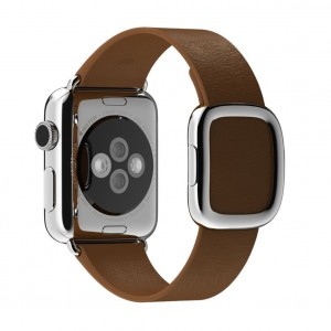 EastVita Apple Watch Replacement Band Strap Modern Buckle Leather Wristband 42mm Color Brown Size M (145 to 165mm)