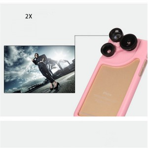 PC and Silicone 4 in 1 Dial Wide and Macro and Fisheye and Telephoto Camera Lens Phone Case for iPhone 6 Plus and 6S Plus Pink