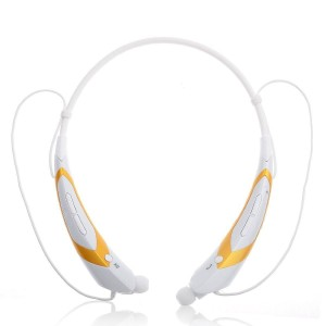 EastVita Sport Wireless Bluetooth 4.0 Headset Headphone Stereo Earphone for iPhone Samsung LG HTC Tablet laptop Color White/Yellow
