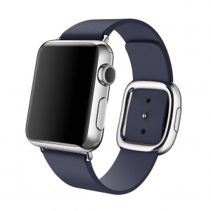 EastVita Apple Watch Replacement Band Strap Modern Buckle Leather Wristband 42mm Color Blue