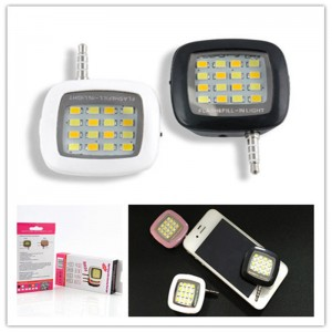 Universal 3.5 mm Jack Mini LED Camera Flash Fill-In Light With 16 Bulbs for Mobile Cell Phone White