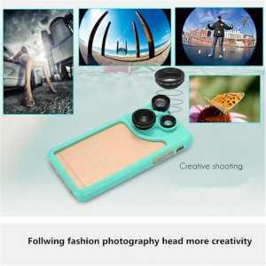 PC and Silicone 4 in 1 Dial Wide and Macro and Fisheye and Telephoto Camera Lens Phone Case for iPhone 6 and 6S Blue
