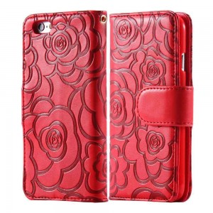 Magnetic Wallet Leather Case with Camellia Card Slot Flip Pouch Stand Holder Cover For iPhone 6 Plus and 6S Plus Red