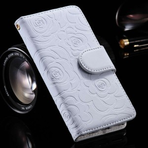 Magnetic Wallet Leather Case with Camellia Card Slot Flip Pouch Stand Holder Cover For iPhone 5 and 5S White