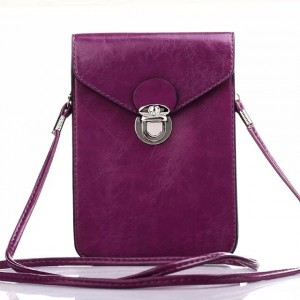 Eastvita Leather Shoulder Bag Pouch or Purse Case Sleeve for for iPhone or Samsung Galaxy Series and Other Phone Types Under 5.5 inch (High Quality Mint) Purple