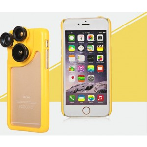 PC and Silicone 4 in 1 Dial Wide and Macro and Fisheye and Telephoto Camera Lens Phone Case for iPhone 6 and 6S Yellow