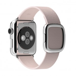 EastVita Apple Watch Replacement Band Strap Modern Buckle Leather Wristband 42mm Color Pink Size M (145 to 165mm)