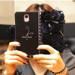 Luxury Rose Bling Pearl Flower Flip Leather Wallet Card Holder Purse Case Cover Black for SumSung S5