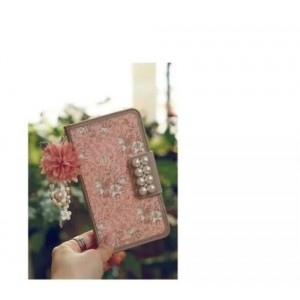 Luxury Rose Bling Pearl Flower Flip Leather Wallet Card Holder Purse Case Cover Beige for iphone 6 and 6S
