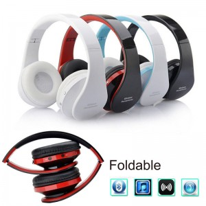 Eastvita Hot Sale New Wireless Bluetooth Foldable Headset Stereo Headphone Earphone for iPhone Samsung Red