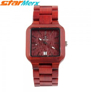 EastVita MERRY TIME Square Natural Ebony Watches with three hands, Fashion and Leisure, Watch gift for Men and Women Color: Red