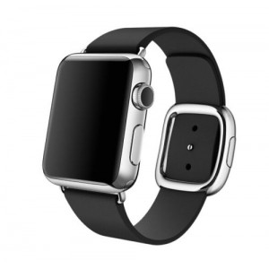 EastVita Apple Watch Replacement Band Strap Modern Buckle Leather Wristband 38mm Color Black