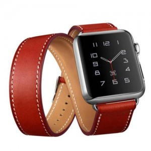 EastVita Long Genuine Leather Band Double Tour Bracelet Watchband Strap for Apple Watch 42mm Color Red