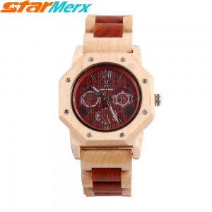 EastVita MERRY TIME Eight Angels Natural Maple and Ebony Watches with six hands, Fashion and Leisure, Watch gift for Men and Women Color: Red/White