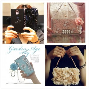 Luxury Rose Bling Pearl Flower Flip Leather Wallet Card Holder Purse Case Cover Black for SumSung Note 4