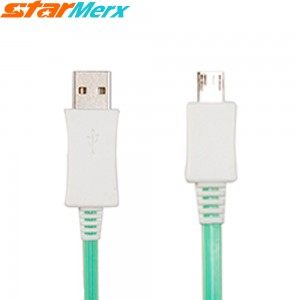 EastVita V8 USB Luminous Cable Visible Light USB Cable USB Cable can glow and flash Apply to Android Samsung XiaoMi HTC MeiZu Huawei (Color Green)