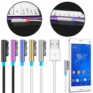 EastVita Magnetic Aluminum LED USB Charger Cable for Sony Xperia Z1 Z2 Z3 Compact and Ultra Color Black