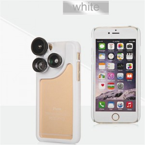 PC and Silicone 4 in 1 Dial Wide and Macro and Fisheye and Telephoto Camera Lens Phone Case for iPhone 6 Plus and 6S Plus White