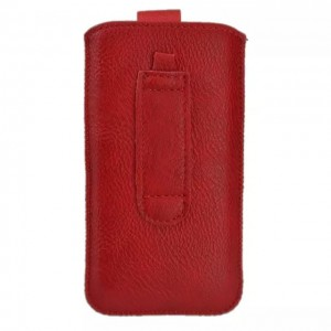 Eastvita PU Leather Litchi grain Pull Premium Tab Pouch Bag Case Cover For Apple iPhone 5 Color:Red