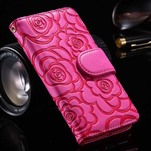 Magnetic Wallet Leather Case with Camellia Card Slot Flip Pouch Stand Holder Cover For iPhone 5 and 6S Rose Red