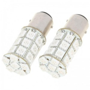 BAY15D 5.4W 270LM 27x5050 SMD LED Car Brake/Turning/Reverse Red Light Bulbs - Pair (DC 12V)