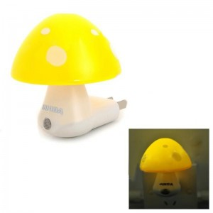 INHIDA YHD-MGDH Mushroom Shape 1/5W 1-LED Yellow Light Control Lamp (AC 220V / 2-Flat- Pin Plug)