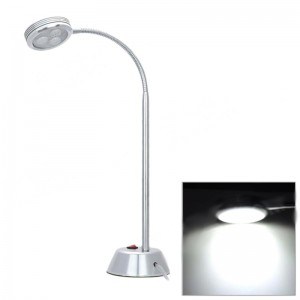 3W 285lm 6500K 3-LED White Light Round Shape Desk Lamp - Silver (2-Flat-Pin Plug / 85~265V)