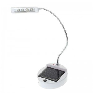 Solar Powered Self-Recharge 4-LED Table Lamp with Flexible Neck - White