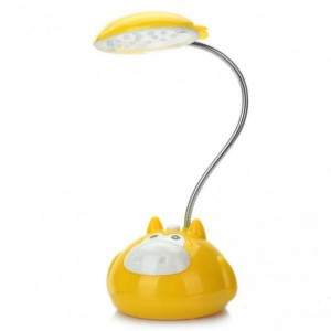 Cute Cartoon Cow Style Rechargeable Flexible 2-Mode White 20-LED Desk Light Table Lamp (Yellow)