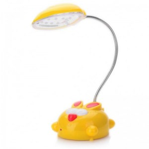 Cute Cartoon Style Rechargeable Flexible 2-Mode White 15-LED Desk Light Table Lamp (Yellow)