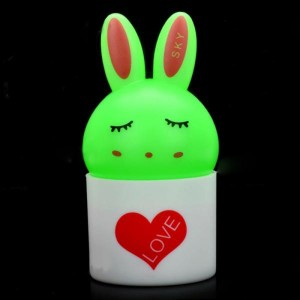 Cute Rabbit Style Light Activated LED Night Lamp - Green + White (3-flat-pin plug)