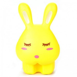 Cute Rabbit Style Rechargeable 1-Mode 12-LED White Light Desktop Lamp - Yellow (AC 220~250V)
