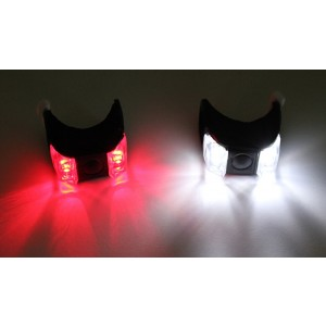 3-Mode 2-LED Red + White Light Tie-On Bike Light Keychains (2-Pack Set)