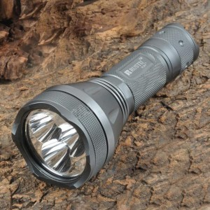 RUSTU R3H 3 x Cree XM-L T6 2500lm 5-Mode White Flashlight - Grey (1 x 18650 / 26650)