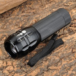 Cree XR-E Q5 140lm 3-Mode Zooming White Flashlight w/ Strap - Black (3 x AAA)