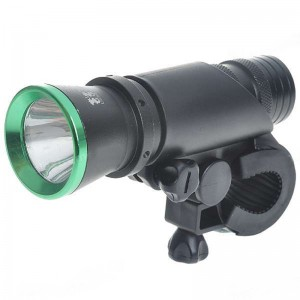3W 60-Lumen 2-Mode Front White Light with Mount for Bike - Black + Green (3*AAA)