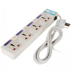 4-Outlet Electric AC Power Bar Strip Splitter with Switch (250V)