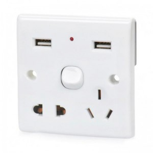 Wall Mount Power Socket Switch with Dual USB Ports