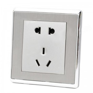 SMEONG Wall Mount Wiredrawing 5-Pin Power Socket Outlet - Champagne