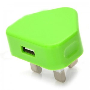 Mini 1A USB Power Adapter / Charger - Green (100~240V / UK Plug)