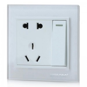 SMEONG 2-Socket 1-Switch Wall Power Plate - White (AC 250V)