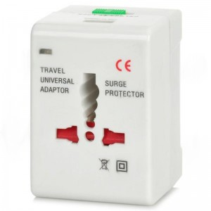 Universal Travel Power Plug Adapter with USB Adapter - White